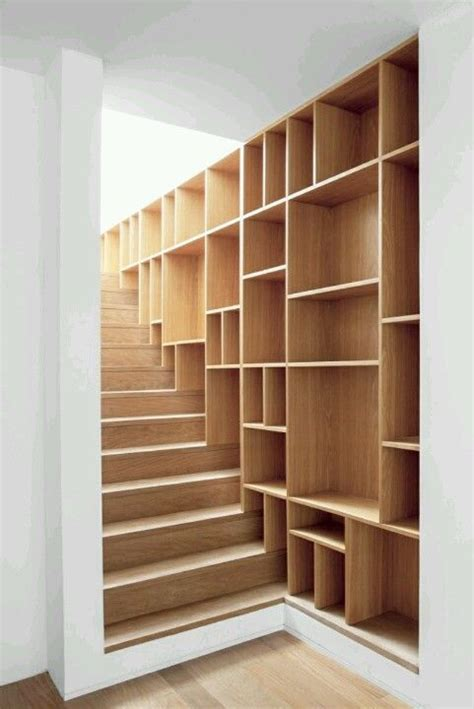 stairway shelving bookcase stairs wood craft ideas pinterest