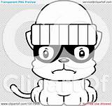 Robber Kitten Mad Cartoon Cat Lineart Outline Clipart Animal Vector Thoman Cory sketch template