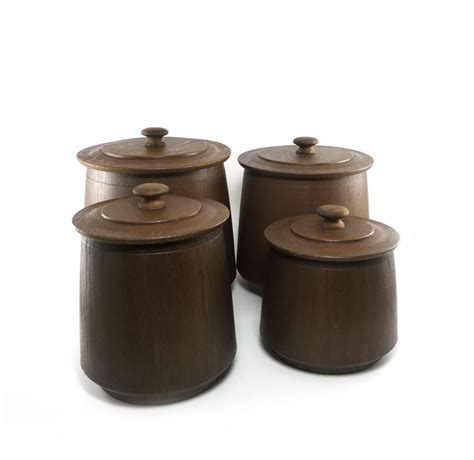 vintage glass canisters kitchen vintage faux wood canister set chocolate brown roast