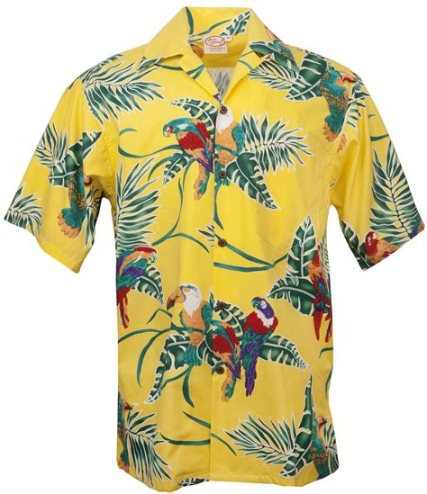 Go Barefoot Tropical Birds Mens Hawaiian Aloha Shirt in ...