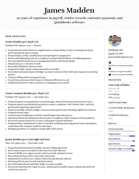Bookkeeper Resume Example & Writing Tips for 2020
