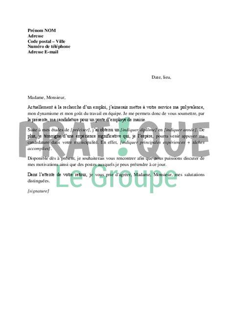 lettre de motivation employé de bureau lettre de motivation pour un poste d 39 employé de mairie