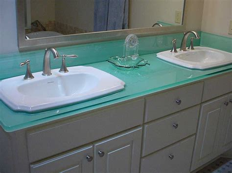 Glass Bathroom Sink Countertop With Double White Sink