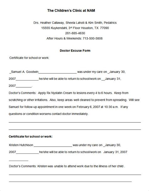 Doctors Note Template 10 Doctors Note Templates Free Sles Exles