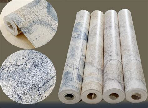 vintage world map wall paper roll  office rustic mural