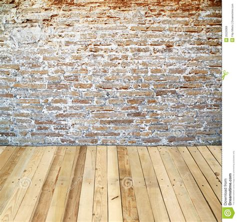 wood floor on wall brick wall with wooden floor stock image image 25226369