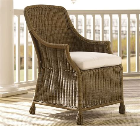 saybrook all weather wicker dining armchair pottery barn