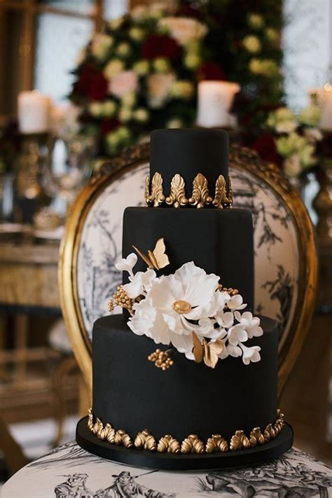 brilliant matter black wedding cake ideas