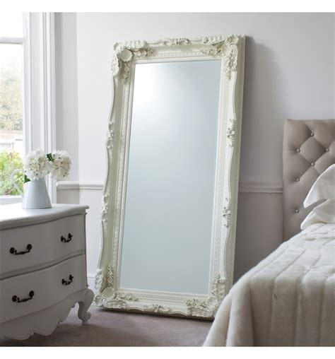 carved louis leaner mirror cream white painted leaner