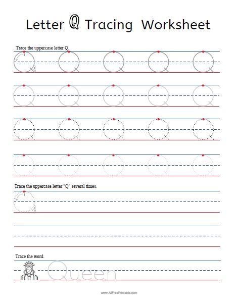 letter q tracing worksheets free printable allfreeprintable