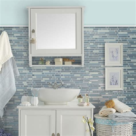 Peel And Stick Tile In Bathroom by Bellagio Alario Peel Stick Smart Tiles Backsplash