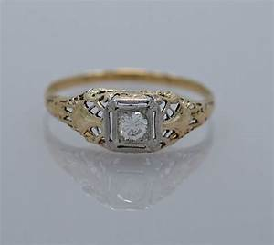 engagement ring diamond platinum art deco gesner estate With estate jewelry wedding rings