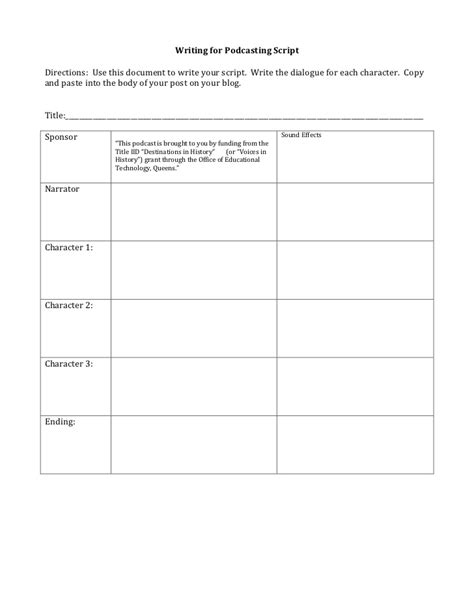 podcast template podcasting script template