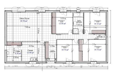 plan maison 4 chambres gratuit plan de maison plain pied gratuit 4 chambres 1 plans