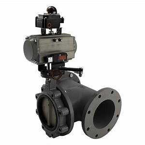 3 Way Butterfly Valve With Series C Double Acting Actuator  100 Psi