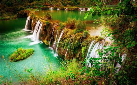Beautiful Waterfall, Nature Autumn Beautiful Green Grass ...