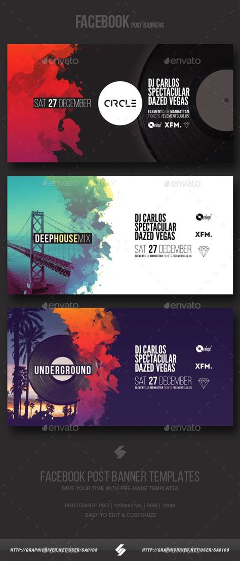 electronic  party vol facebook post banner templates