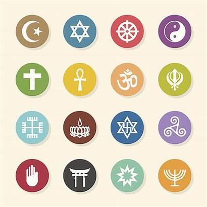 Religion Icons Symbols Religious Circle Vector Clip