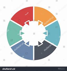 Ring Diagram Six Colored Sections Template Stock Vector