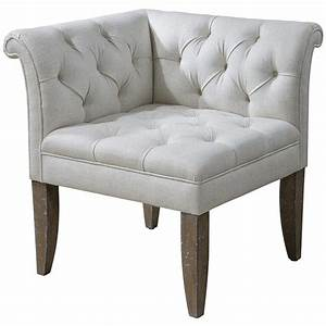 Trenton French Country Tufted Beige Linen Corner Chair