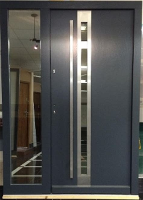 model  modern grey finish wood exterior door  side