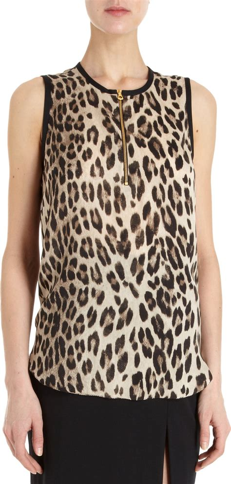 leopard print blouses l 39 agence sleeveless leopard print blouse in