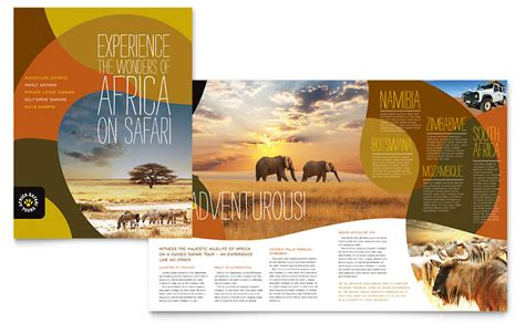 Word Travel Brochure Template by Safari Brochure Template Word Publisher