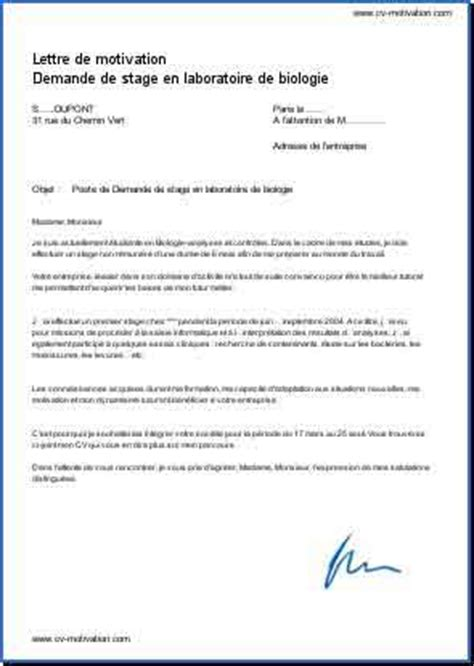 Modèle De Présentation De Cv by Lettre De Motivation Demande De Stage Employment Application