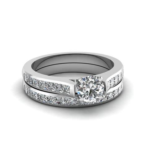 cut channel set diamond wedding ring sets