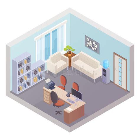 bureau patron intérieur isométrique de bureau avec le patron workplace