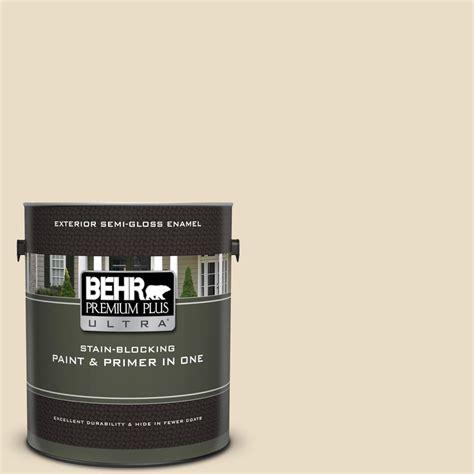 behr premium plus ultra 1 gal 22 navajo white gloss enamel exterior paint and primer in