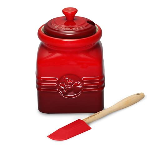 le creuset stoneware berry jam jar  silicone spreader oz cherry red cutlery