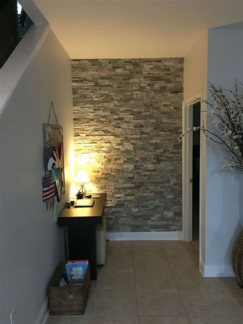 completed stone accent wall  lowes desert quartz