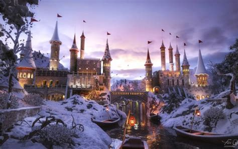 ancient castle  winter snow  wallpapers hd
