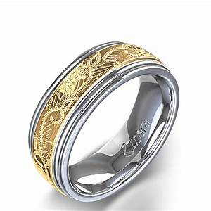 vintage scroll design men39s wedding ring in 14k two tone With wedding rings mens white gold