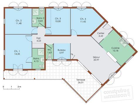 plan maison 5 chambres plain pied gratuit plan de maison 5 chambres plain pied