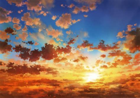Anime Sunset Wallpaper Hd - wallpaper anime landscape sunset clouds sky
