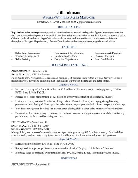 Free Resume Sles by Sales Manager Resume Sle