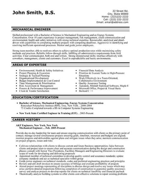 Resume For Project Engineer Mechanical by 42 Best Images About Best Engineering Resume Templates Sles On Resume Templates