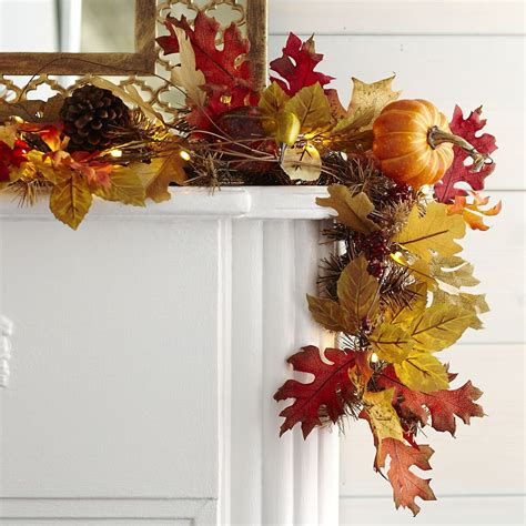 faux maple leaves pre lit garland pier  imports fall