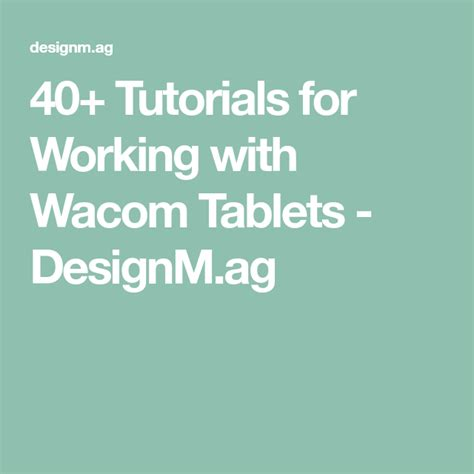 designm wacom tutorials working ag tablets