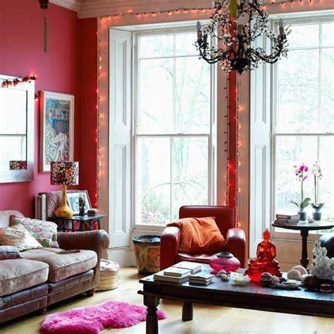 Red Modern Living Room  Living Room Idea  Fairy Lights