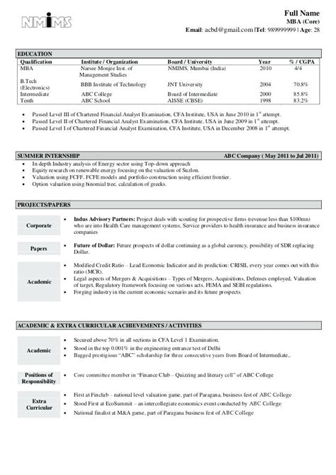 mba finance fresher resume format resume template easy