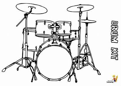 Drum Coloring Drums Instrument Pages Percussion Kit