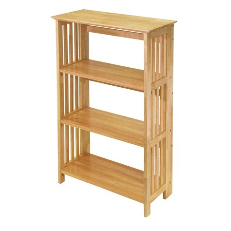 Kitchen Bookcase Ideas - amazon com winsome wood foldable 4 tier shelf natural kitchen dining