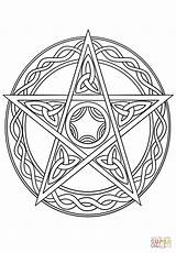 Wiccan Pentagram Coloring Pentacle Pages Drawing Wicca Witch Pagan Printable Mandala Symbols Adult Celtic Supercoloring Tattoo Books Celestial Goddess Drawings sketch template