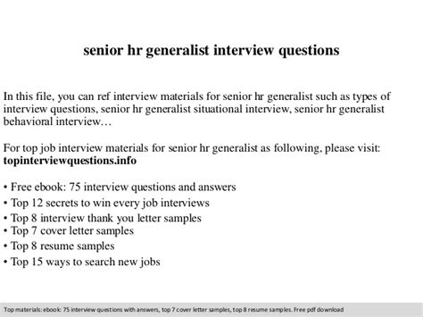 Questions For Hr Generalist by Senior Hr Generalist Questions