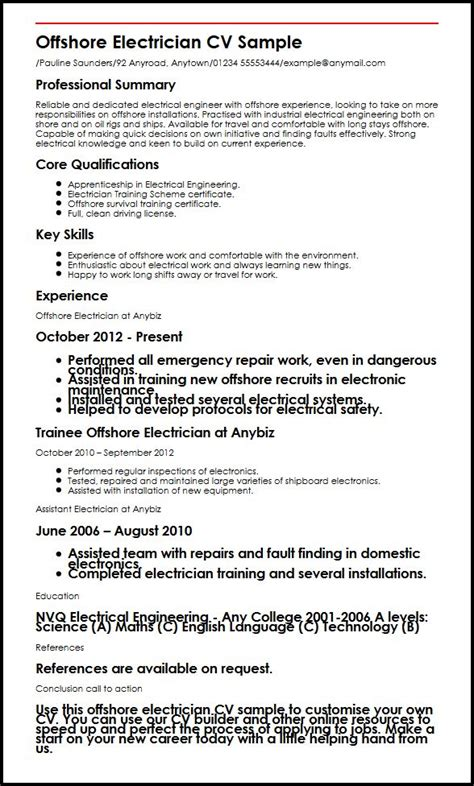 Iec Resume Template Uk by Offshore Electrician Cv Sle Myperfectcv