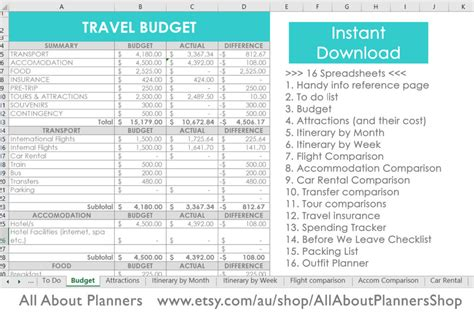 excel  organize   travel plans research