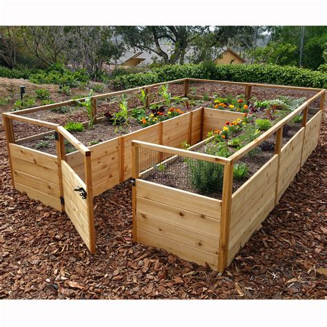 gardening raised beds outdoor living today 8 x 12 cedar raised garden bed wayfair